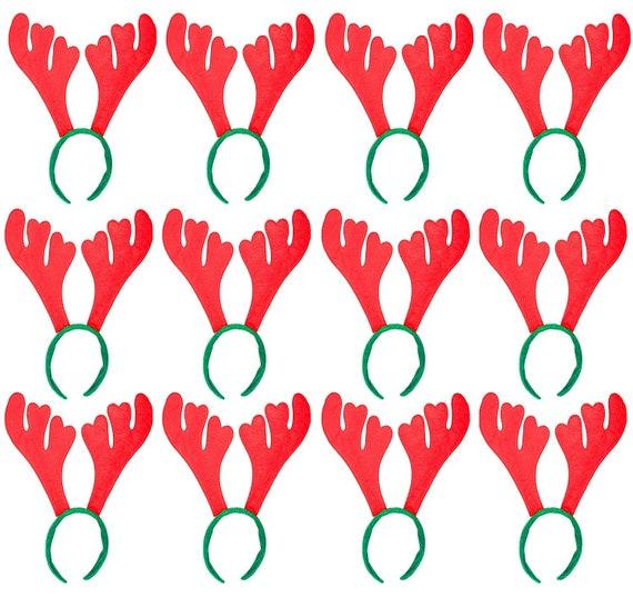 PACK OF 2 REINDEER ANTLERS ON HEADBAND CHRISTMAS FANCY DRESS OFFICE XMAS PARTY
