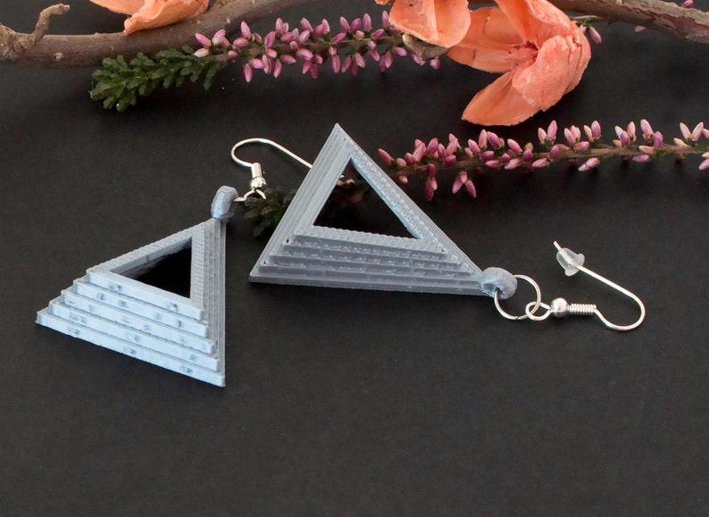 3d printed earrings triangle earrings Silver