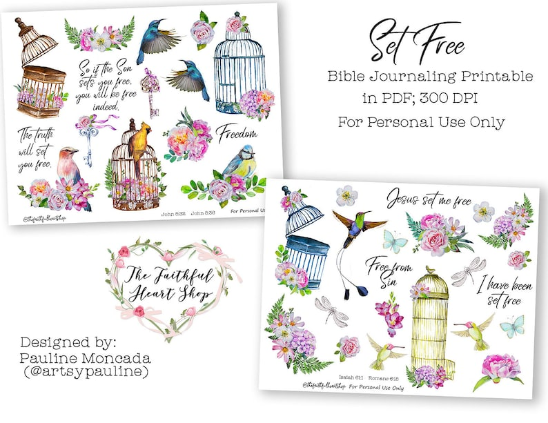 Set Free  Bible Journaling Digital Download Printable