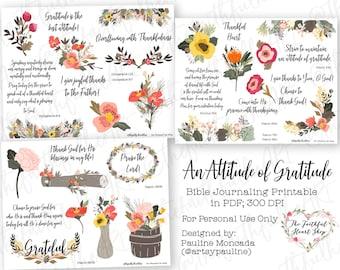 An Attitude of Gratitude. Bible Journaling/Faith Planner Digital Download Printable