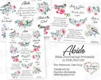Abide. Bible Journaling/Faith Planner Digital Download Printable. Christian. Mixed Media. Planner Sticker