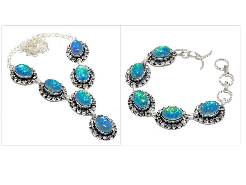 Blue Triplet Fire Opal Gemstone Antique Jewelry Handmade 925 Silver Necklace and Bracelet Sets