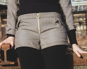 Short wool trousers made of original GDR fabric Size S