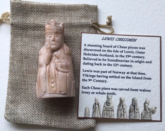 Lewis chess piece  resin Queen 7 cm high gift bag and card boxed birthday wedding Viking gift