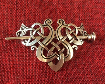 Stunning silver tone hair clip barrette celtic viking knot gift set wicca hair slide gift set card hessian  bag included Yule valentines
