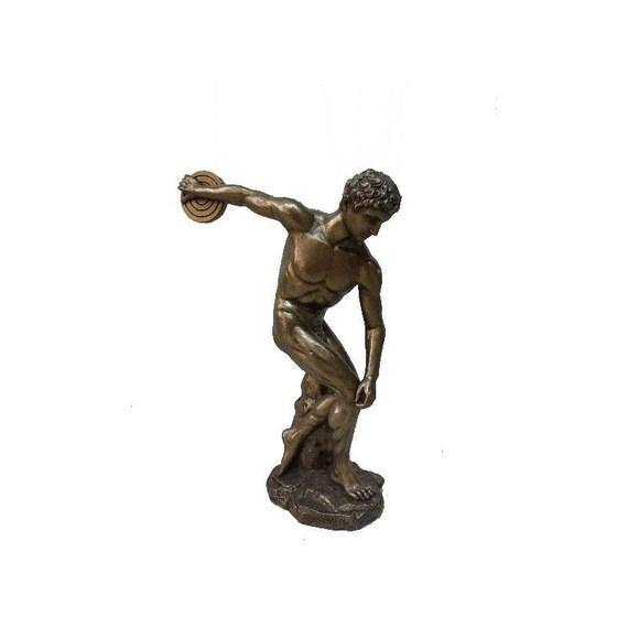 Discobolus of Myron Solid Bronze Sculpture Ancient Greek Handmade Museum Replica Craft Statue 27cm
