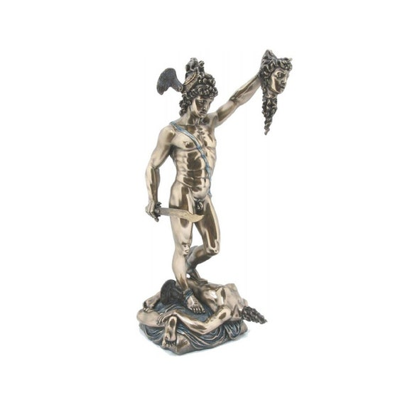 Perseus With The Head Of Medusa Sculpture Reproduction Statue In Greek Roman Mythology Antique Finish By Veronese Design 14