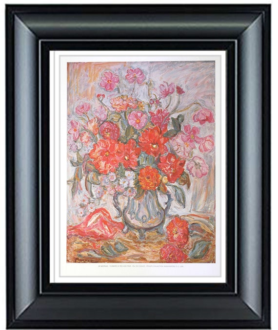 Lithograph DE MORNAC \u2013 Flowers in Red and Pink