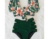 High Waisted Waist Bikini, 50s Retro Style Two piece Swimsuit Set, Daisy Cottagecore Y2k Swimwear Bathing Suit Clothing, Women Swimwear