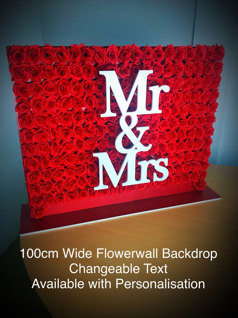 Flower Wall any colour flowers available with Personalised Text 90cm x 100cm