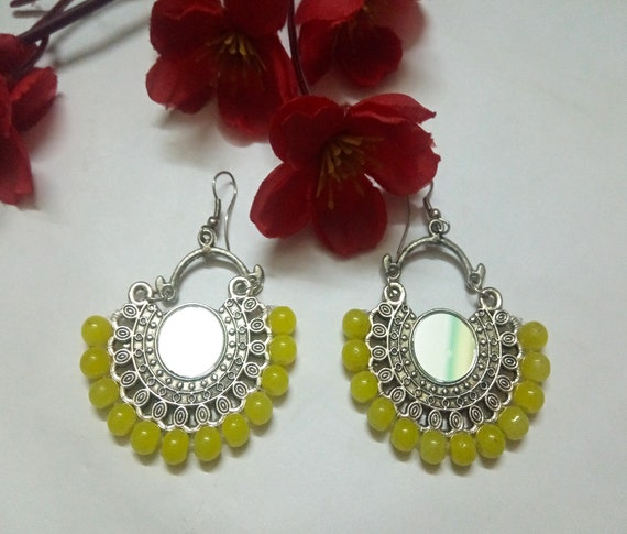 Indian Oxidized Earrings With Yellow Pearls Beaded Chand Bali Party Wear German Silver Mirror Earrings Antique Plated Handmade Ethnic Set