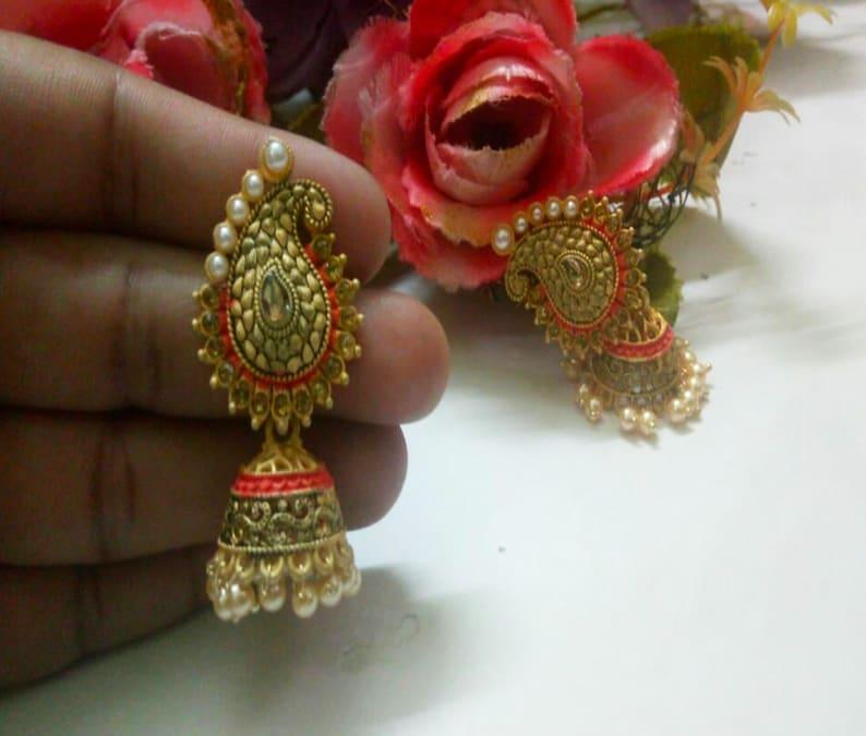 Indian Designer Pearls Jhumki Gold Plated Matt Finish Hand Painting Work With Small Kundan Party Wear Jewelry Handmade Wedding Fashion Set