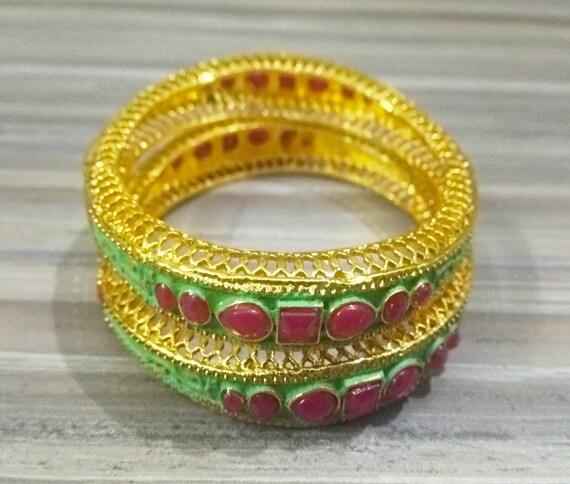 Indian Fashion Wedding Jewelery Bridal CZ Pearl Traditional Bangle Bracelet Sets
