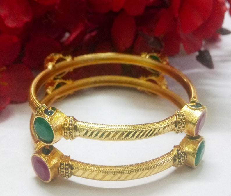 Designer Gold Plated Bangles CZ Bangles Jewelry Ruby Red Emerald Green Glass Stone Studded Jewelry Indian Pakistani Bangles With Meenakari