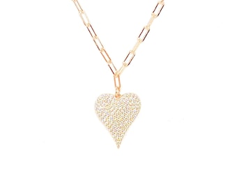 Gemstone Heart Pendant Necklace Clear Cubic Zirconia Gemstone 925 Solid Sterling Silver Thick Chain Rose Gold Vermeil Dainty Necklace