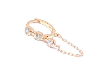 Dainty Ball Chain Bracelet 925 Solid Sterling Silver Clear Zirconia Gemstone Rose Gold Vermeil Adjustable Chain