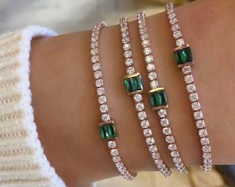 Green Baguette Stone Tennis Choker Zirconia Gemstone 925 Solid Sterling Silver Rose Gold Vermeil
