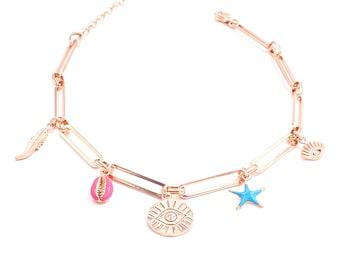 Turquoise Lapis Quartz Necklace 925 Solid Sterling Silver Rose Gold Vermeil Colorful Summer Necklace