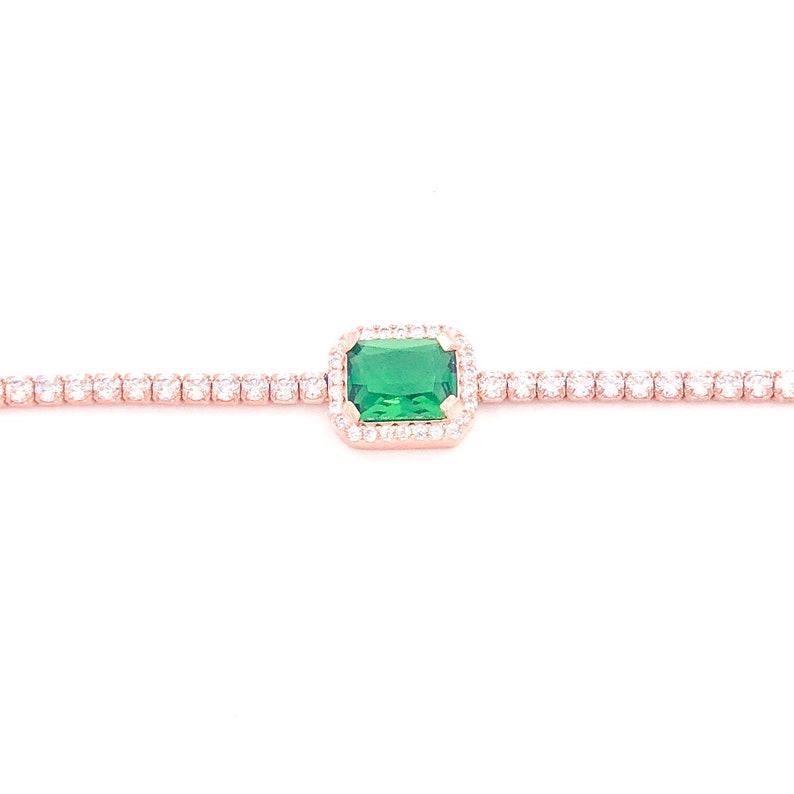 Baguette Tennis Bracelet Colorful Cubic Zirconia 925 Silver Gemstone 14k Rose Gold