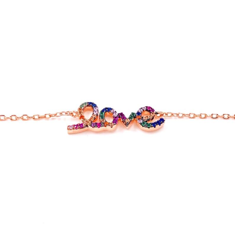 Rainbow Love Bracelet CZ 925 Silver Gemstone 14K Rose Gold Plated