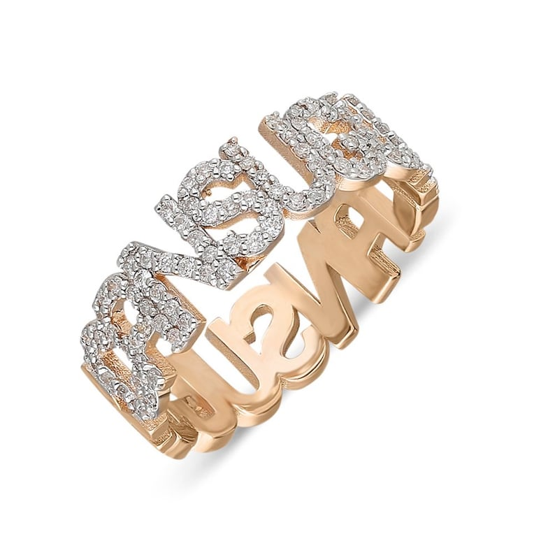 14K Solid Gold Diamond Custom Name Ring Personalized Diamond image 0