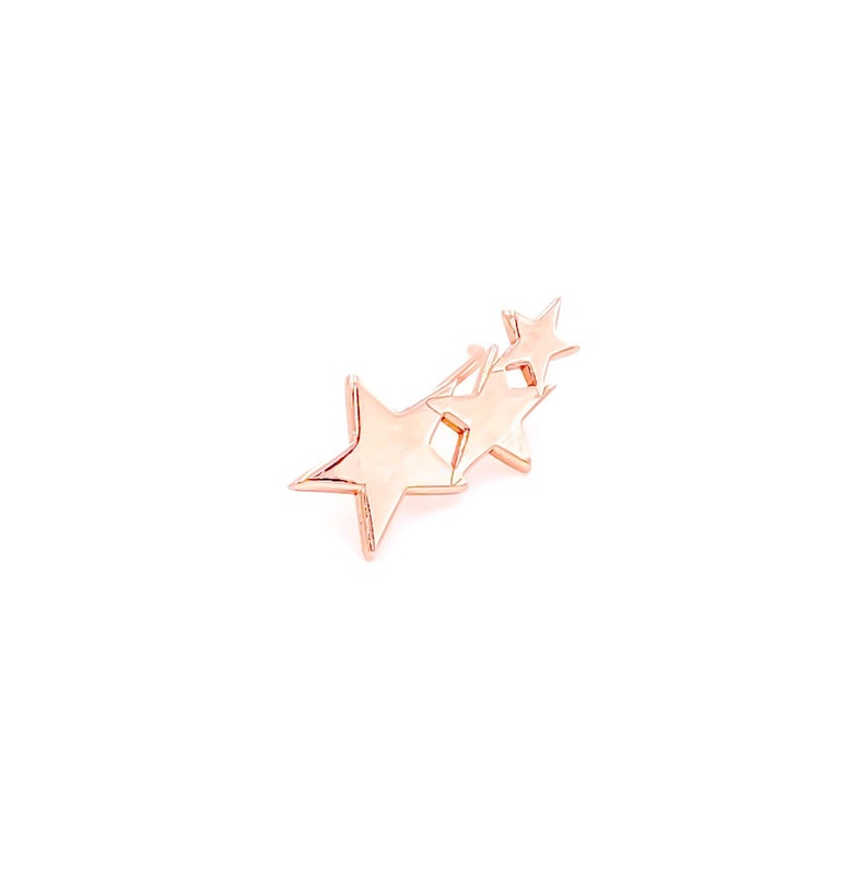 Three Stars Earrings Silver Stud Ear Climber Earrings 14K Rose Gold Plated Left and Right Available