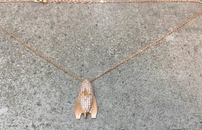 Big Spaceship Pendant Necklace 925 Solid Silver Necklace Rose Gold Vermeil Statement Necklace Cubic Zirconia Gemstone