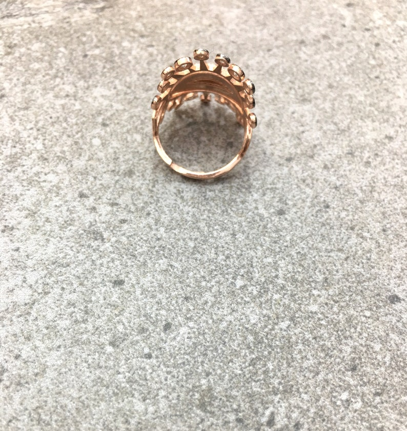 Statement Ring Cubic Zirconia White Black 925 Silver Ring 14K Rose Gold Plated