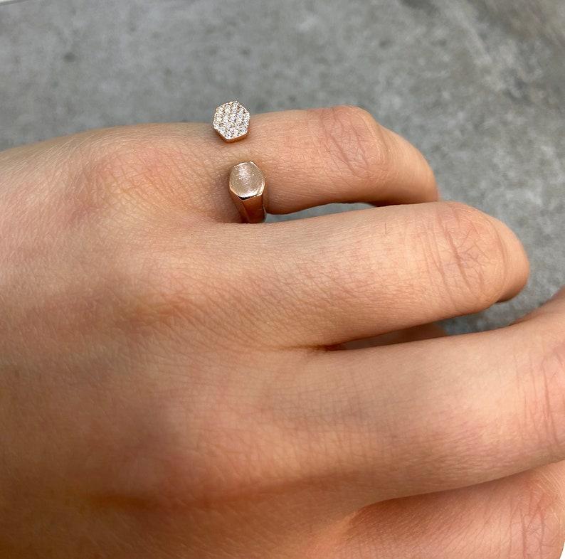 Pinky Finger Ring Zircon Bezel Ring Hexagon Ring Dainty Little Finger Ring Rose Gold Vermeil Ring 925 Silver Open Ring