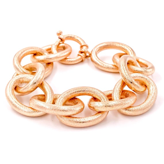 lycia jewelry Chunky Cable Chain Rope Bracelet 925 Silver 14K Rose and Yellow Gold Plated