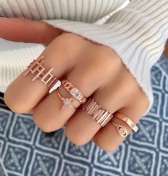 Sun Medallion Statement Ring Cubic Zircon Enamel 925 Silver 14K Rose Gold Plated