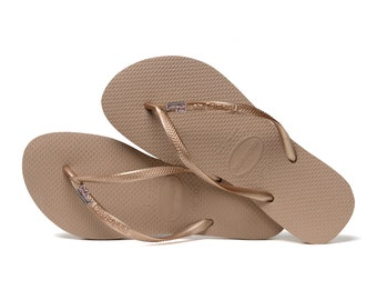 cb4038a7a42d Just Married Wedding Bridal Havaianas Flip Flops Rose Gold