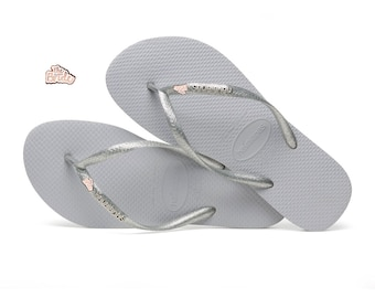 33a6580f84a7 The Bride Wedding Bridal Havaianas Flip Flops Rose Gold Silver
