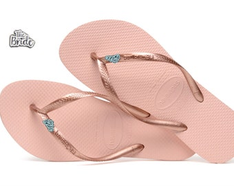 25f1834bada8 The Bride Wedding Bridal Havaianas Flip Flops Rose Gold
