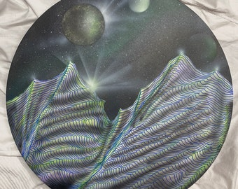 """Original painting """"mountain galaxy"""" by Nick Metcalf on 20"""" round canvas coated with epoxy."""