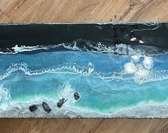 "48"" wide x 16"" height ocean beach resin art by Nick Metcalf"