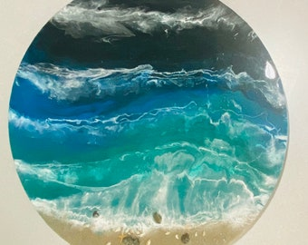 """Ocean beach waves 24"""" round canvas resin painting by Nick Metcalf"""