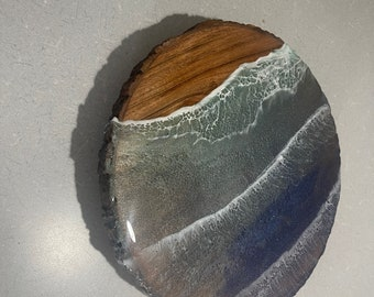"""13"""" Live edge wooden lazy Susan with ocean waves epoxy original art by Nick Metcalf"""