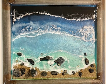 Bandon by the Sea epoxy resin with sand a stones and metal frame by Nick Metcalf