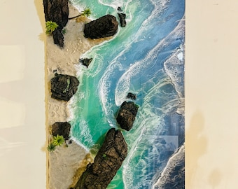 """Treasure Island"""" 3D hyper realistic large canvas painting on 48"""" x 23.5"""" wooden canvas panel by Nick Metcalf"""