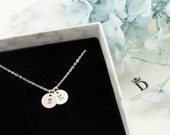 100 Sterling Silver Initial necklace, Initial disc necklace, Personalized custom initial round disc necklace, Silver Jewellery