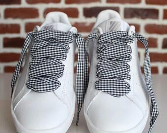 hot sale online dcff0 02643 Lacets Vichy Noir et blanc - Shoelaces - Lacets originaux pour baskets et  chaussures - Lacets Vintage et tendance - Accessoire chaussures