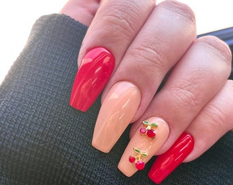 Cherry Pie | Press On Nails | Nail Extensions | Gel Nails | Coffin | Stiletto | Square | Oval | Nail Art | Nail Decal | Nail Sticker