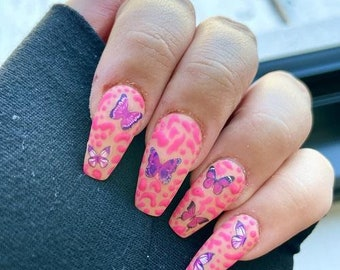 Jungle Butterfly | Press On Nails | Nail Extensions | Gel Nails | Coffin | Stiletto | Square | Oval | Nail Art | Nail Decal | Nail Sticker
