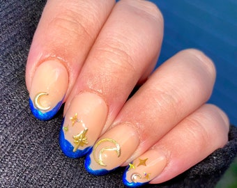 Starry Night | Press On Nails | Nail Extensions | Gel Nails | Coffin | Stiletto | Square | Oval | Nail Art | Nail Decal | Nail Sticker