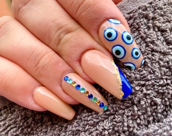 Evil Eye | Press On Nails | Nail Extensions | Gel Nails | Coffin | Stiletto | Square | Oval | Nail Art | Nail Decal | Nail Sticker
