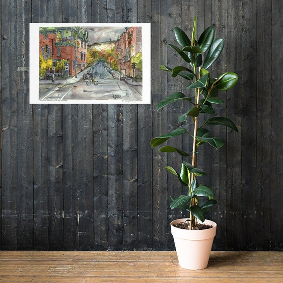 Extra Large Wall Art Print of Dorchester Park Travel Print City Painting in Watercolor Montreal Art Print