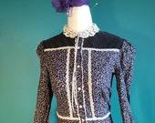 Vintage gunne sax dress, jessica mcclintock dress, vintage prairie dress, 70s does Victorian, size small, calico dress, dress with pockets