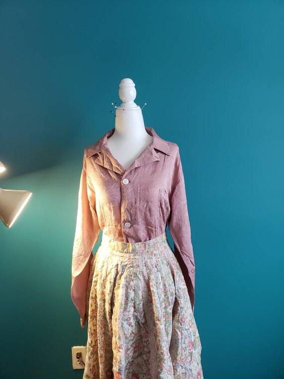 1940s silk top, 1950s silk blouse, vintage silk sh