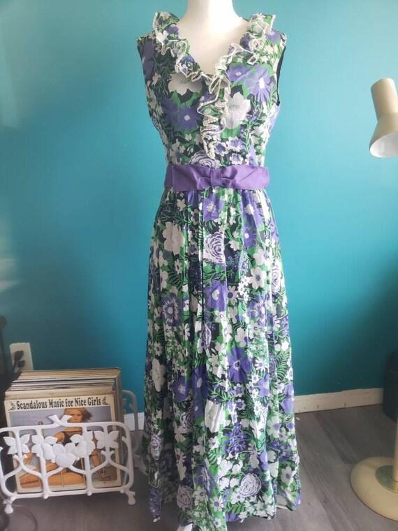 1960s maxi dress, 60s dress, size small, cotton ga
